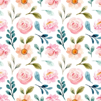 Beautiful pastel pink floral watercolor seamless pattern