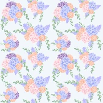 Beautiful pattern background with hydrangea