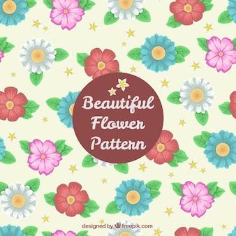 手描きの花の美しいパターン