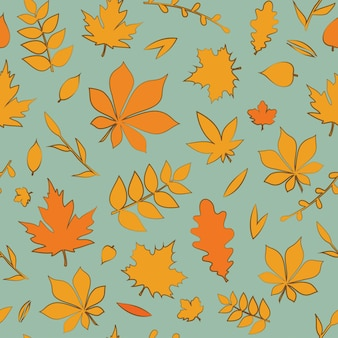 淡いブルーの背景ベクトルシームレスパターンにカラフルな紅葉と美しいパターン