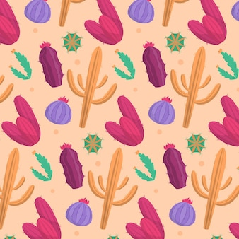 Beautiful pattern with colorful cactus