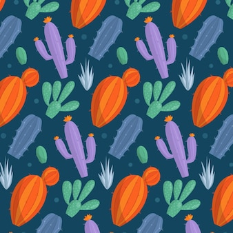 Beautiful pattern with colourful cactus