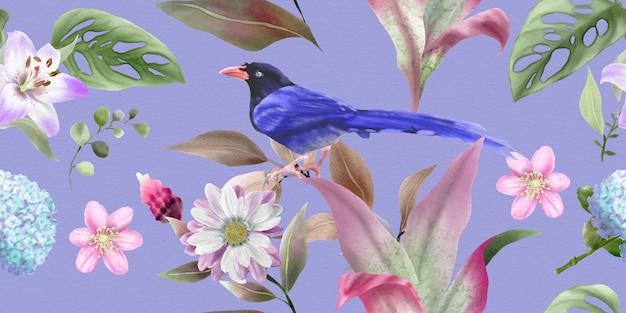 花の水彩画と鳥のイラストと美しいパターン