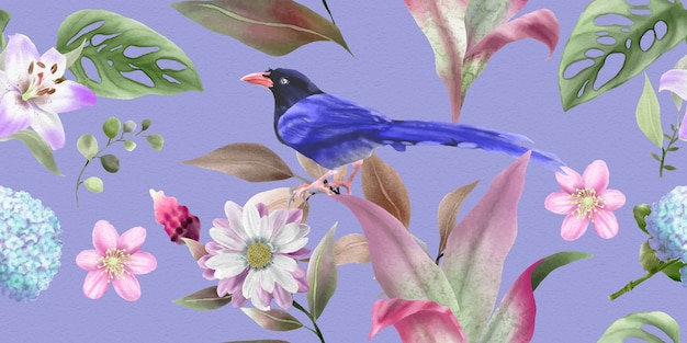 Beautiful pattern with floral watercolor and bird illustration