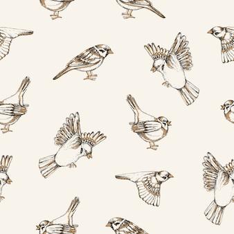 明るい背景にスズメが飛んで座っている美しいパターン。