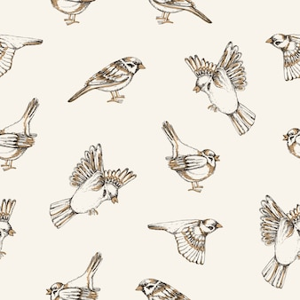 Beautiful pattern with flying and sitting sparrows on light background.