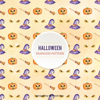 Beautiful pattern con elementi di halloween in stile acquerello