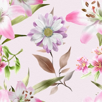 Beautiful pattern with lily  daisy and cherry blossom watercolor