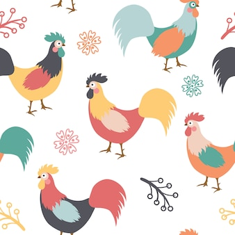 Beautiful pattern with roosters, branches and flowers