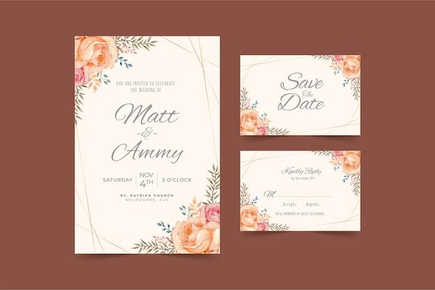 Beautiful peach floral frame wedding invitation card template