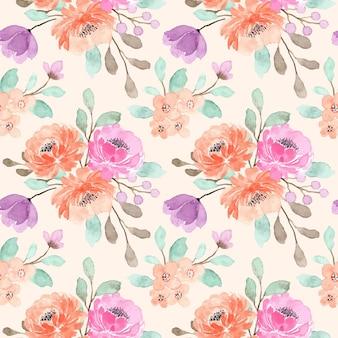 Beautiful peach floral watercolor seamless pattern