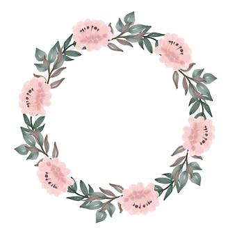 아름다운 복숭아 꽃 화환 원 프레임 복숭아 수채화 꽃
