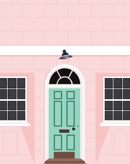 Beautiful peach house facade. modern outdoor design. london style property. trendy hand drawn   illustration of a peach colour house with a light green door. house wall, door and two windows.