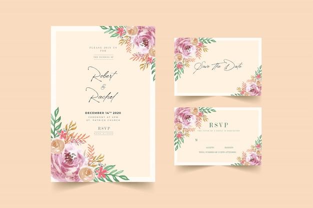 Beautiful peach & pink floral frame wedding invitation card template