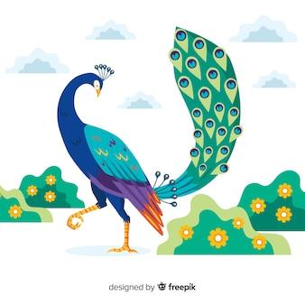 Beautiful peacock in flat style