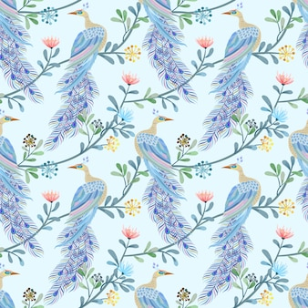 Beautiful peacock seamless pattern.