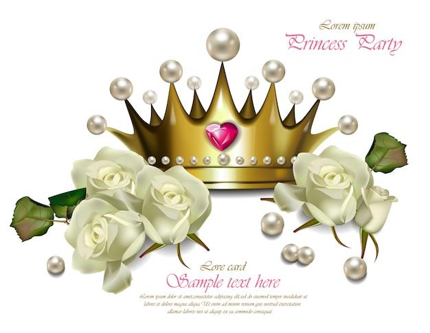 Красивая жемчужная корона и белые розы