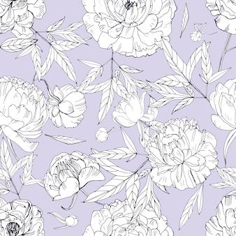 美しい牡丹のシームレスなパターン。花、つぼみ、葉。黒と白のイラスト。