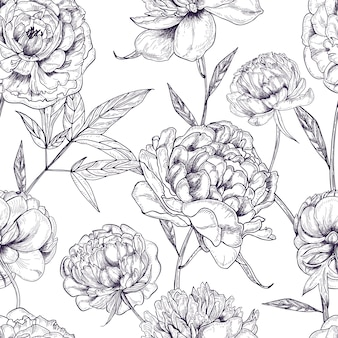 Beautiful peonies seamless pattern. hand drawn blossom flowers, buds and leaves. black and white  illustration.