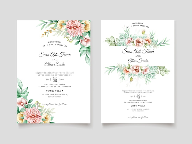 Beautiful peony blooming flower watercolor wedding cards template