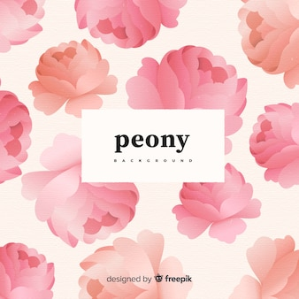 Beautiful peony flower background in retro style