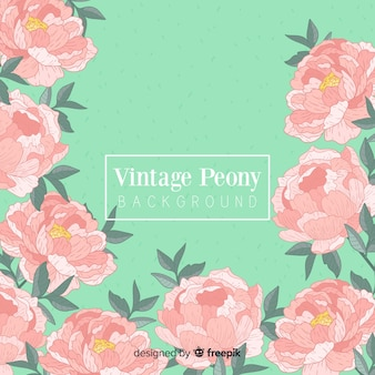 Beautiful peony flower background in retro style