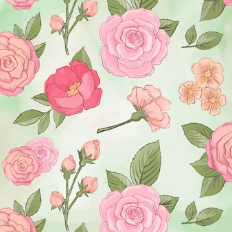 Beautiful peony flowers seamless pattern
