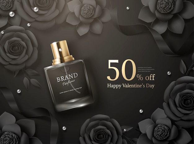 Beautiful perfume ads with paper flowers in 3d illustration