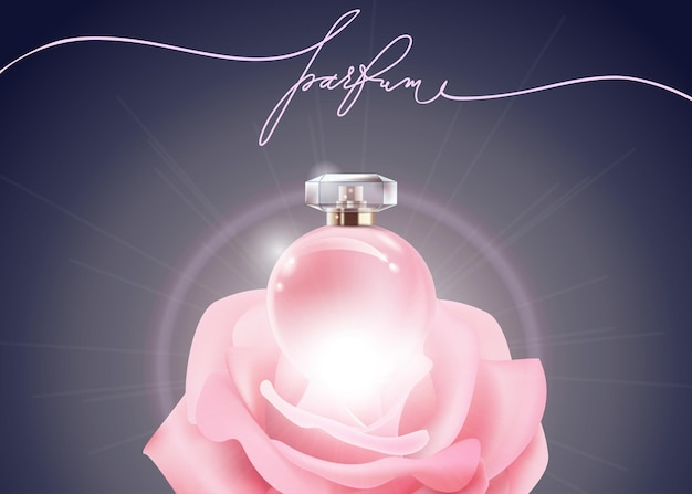 Beautiful perfume bottle pink female perfume and pink rose beauty and cosmetics background vector
