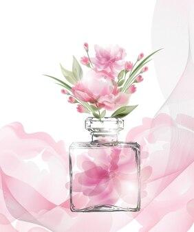 Красивый флакон духов с цветущими красивыми розовыми цветами шаблон вектор