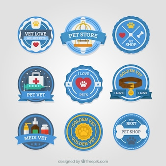 Beautiful pet shop labels with blue background
