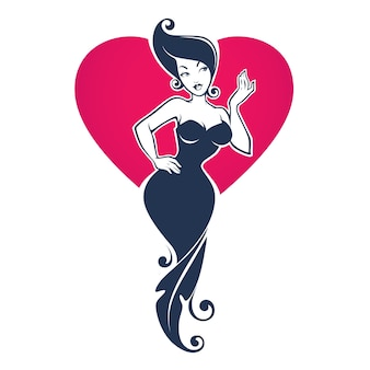 Beautiful pin up girl in floral dress on red heart background, , for your logo, label, emblem