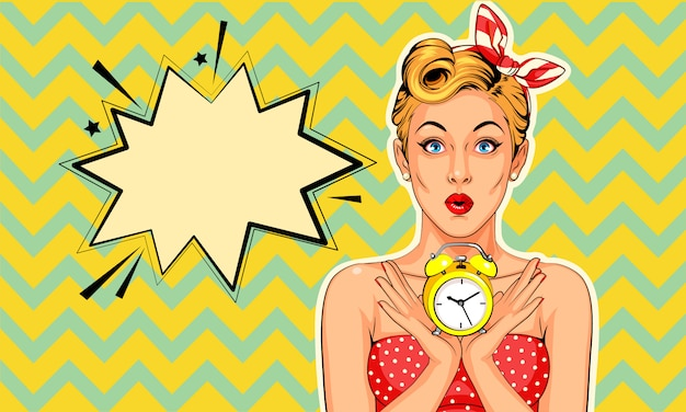 Beautiful pin up model with alarm clock  in pop art style