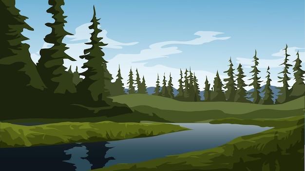 강 아름 다운 소나무 숲 풍경