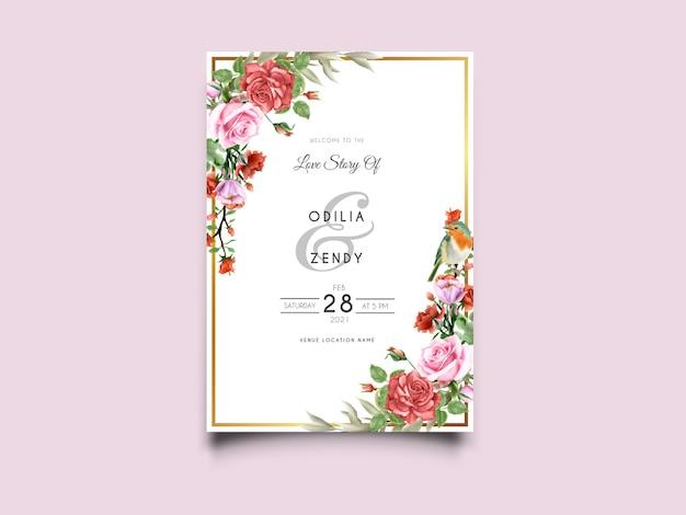 美しいピンクと赤のバラのイラスト結婚式の招待カード