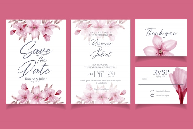 Beautiful pink blossom flower watercolor invitation wedding party