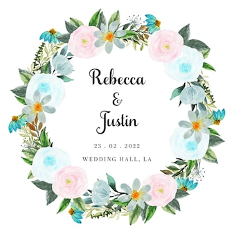 Beautiful pink and blue floral wreath invitation