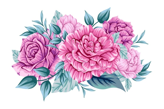 Beautiful pink bouquet of flowers Free Vector