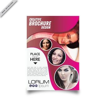 美しいピンクのパンフレット/チラシのデザイン