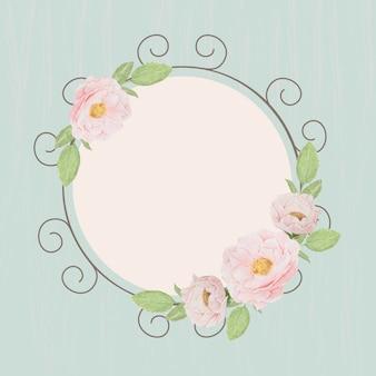 블루 그런 지 나무 질감 배경에서 아름 다운 핑크 영어 장미 화 환 프레임