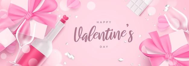 リアルなギフトボックス、シャンパンボトル、ガラスの美しいピンクのフラットレイバレンタインデーのテーマバナーイラスト