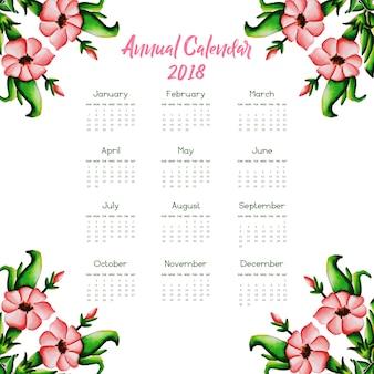 아름다운 핑크 꽃 달력 2018