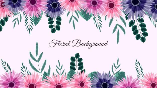 柔らかい自然の花と美しいピンクの花のフレームの背景テンプレートは、枝のテキストを残します