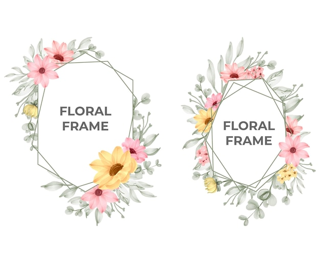 아름 다운 핑크 꽃 프레임 컬렉션