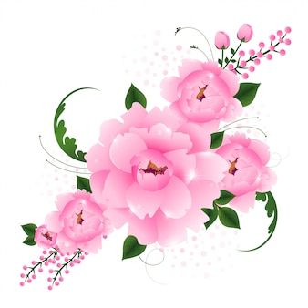 Beautiful pink floral realistic flower arrangement frame