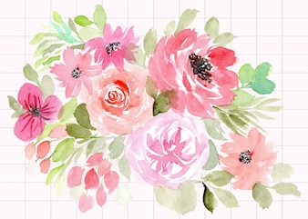 Beautiful pink floral watercolor background