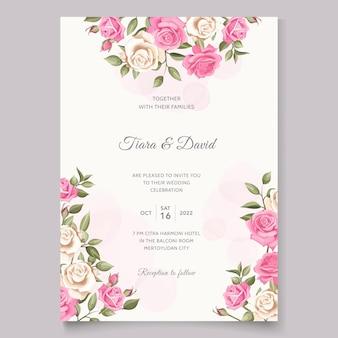 美しいピンクの花の結婚式の招待カード