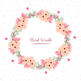 Beautiful pink floral wreath