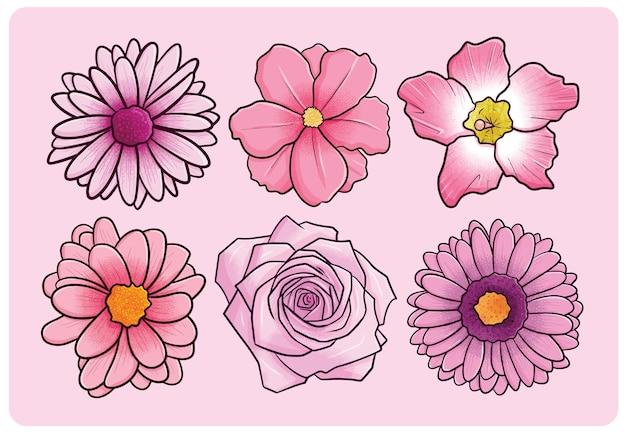 만화 스타일의 아름 다운 핑크 꽃 컬렉션