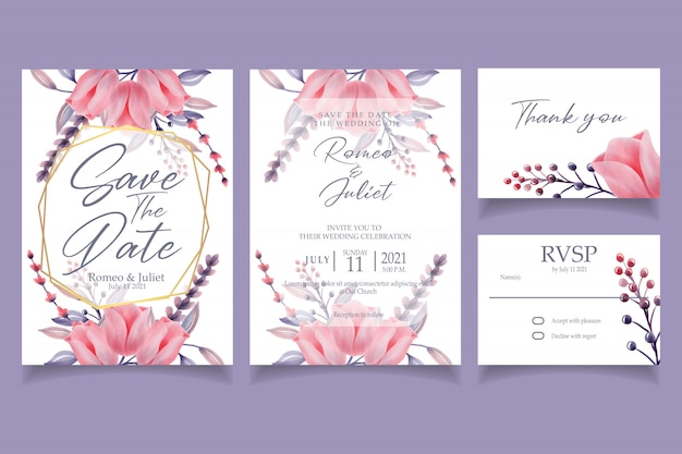 Beautiful pink flower watercolor invitation wedding party
